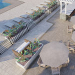 The Grand Patio is the ultimate destination for residents, equipped with comfortable lounge chairs, shaded sitting areas, a resort-style heated pool, Poolside bar, outdoor TV, grilling stations, and a firepit.